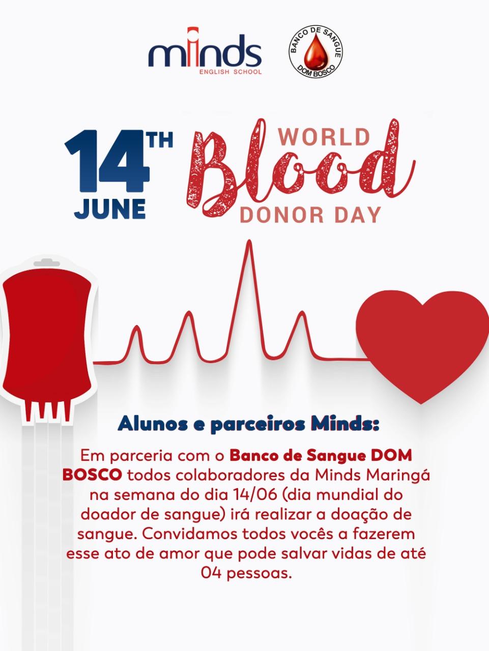 Semana Mundial do Doador de Sangue: Minds Idiomas promove mutirão nacional de doação de sangue